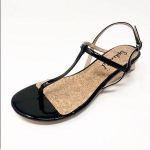 Splendid Black T-Strap Shiny Patent Wedge Sandals